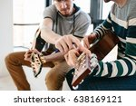 learning to play the guitar.... | Shutterstock . vector #638169121