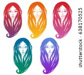 a set of stickers for a girl's... | Shutterstock .eps vector #638170525
