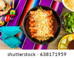 homemade chicken enchiladas in... | Shutterstock . vector #638171959