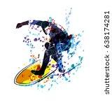 watercolor vector silhouette... | Shutterstock .eps vector #638174281