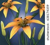 3d flowers  yellow lilies   Shutterstock . vector #638174359