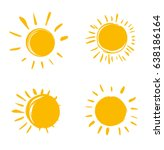 vector set of suns. four... | Shutterstock .eps vector #638186164