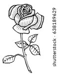 rose. vector. hand drawn... | Shutterstock .eps vector #638189629