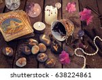 divination rite with coffee and ... | Shutterstock . vector #638224861