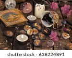 mystic still life with coffee... | Shutterstock . vector #638224891