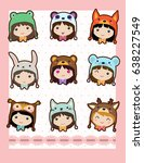 cute card with girls in animal... | Shutterstock .eps vector #638227549