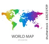 world map colorful rainbow... | Shutterstock .eps vector #638251939