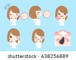 cartoon woman with acne before... | Shutterstock . vector #638256889
