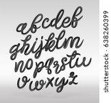 glossy black cursive alphabet....   Shutterstock .eps vector #638260399