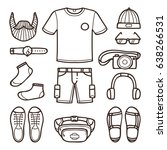 hipster male fashion set in... | Shutterstock .eps vector #638266531