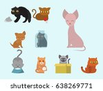 cute cats character different... | Shutterstock .eps vector #638269771