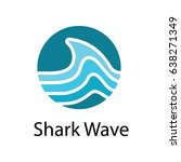 shark wave in circle shape logo ... | Shutterstock .eps vector #638271349