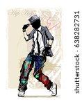 hip hop dancer on grunge... | Shutterstock .eps vector #638282731