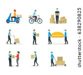 cartoon delivery workers set... | Shutterstock .eps vector #638290825