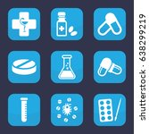 pharmaceutical icon. set of 9... | Shutterstock .eps vector #638299219