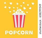 popcorn popping. red yellow... | Shutterstock . vector #638299549