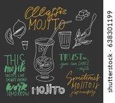 mojito hand drawn illustration. ... | Shutterstock .eps vector #638301199