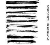 ink vector brush strokes set.... | Shutterstock .eps vector #638308501
