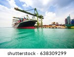 industrial port crane loading... | Shutterstock . vector #638309299