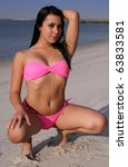 young woman in pink bikini on...   Shutterstock . vector #63833581