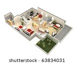 3d floor plan | Shutterstock . vector #63834031