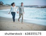 beautiful couple walking on the ... | Shutterstock . vector #638355175