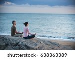 couple practicing yoga at... | Shutterstock . vector #638363389