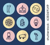 Set Of 9 Culture Outline Icons...