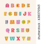 colorful cute uppercase... | Shutterstock .eps vector #638370565