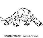 komodoensis dragon black white... | Shutterstock .eps vector #638373961