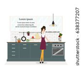 housewife standing front of... | Shutterstock .eps vector #638377207