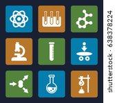 scientific icons set. set of 9... | Shutterstock .eps vector #638378224