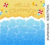 summer background with ocean or ... | Shutterstock . vector #638379241