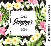 summer sale card. summer... | Shutterstock .eps vector #638384311