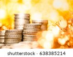 rows of coins on the table for...   Shutterstock . vector #638385214