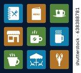 cafe icons set. set of 9 cafe...