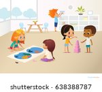smiling kids doing different... | Shutterstock .eps vector #638388787