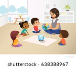 smiling kindergarten teacher... | Shutterstock .eps vector #638388967