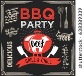 barbecue party invitation.... | Shutterstock .eps vector #638389339