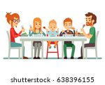 happy big family eating dinner... | Shutterstock .eps vector #638396155