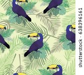 pattern toucan   vector... | Shutterstock .eps vector #638396161