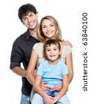 happy young family with pretty...   Shutterstock . vector #63840100