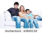 happy young family with child... | Shutterstock . vector #63840118