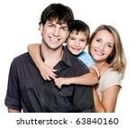 happy young family with pretty... | Shutterstock . vector #63840160