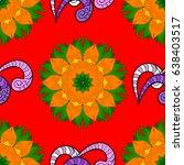 abstract oriental mandala frame ... | Shutterstock .eps vector #638403517