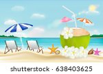 coconut drink water with beach... | Shutterstock .eps vector #638403625