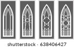 Vector Cartoon White Gothic Window Isolated On Gray Background