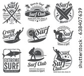 surfing club vector vintage... | Shutterstock .eps vector #638407639