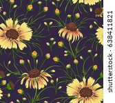 seamless pattern with chamomile ... | Shutterstock .eps vector #638411821