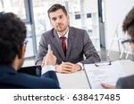 attentive businessman listening ... | Shutterstock . vector #638417485